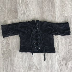Black sexy off the shoulder Lace up crop top